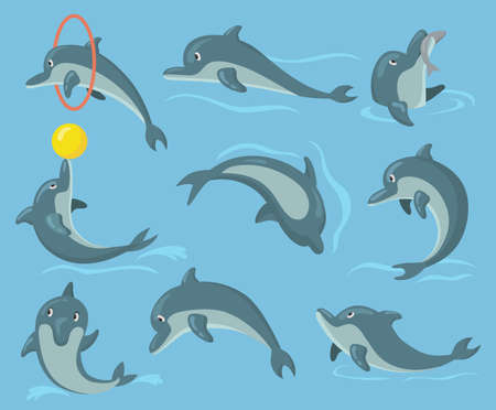 Cute dolphin set. Happy cute dolphin character performing tricks in water, jumping, holding ball, catching fish. Vector illustration for entertainment show, animal, sea life concept