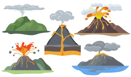 Exploding volcanoes set. Landscape with magma eruption, lava, fire, smoke and ash. Vector illustration for volcanic explosion, eruption, activity, natural disaster concept Ilustración de vector