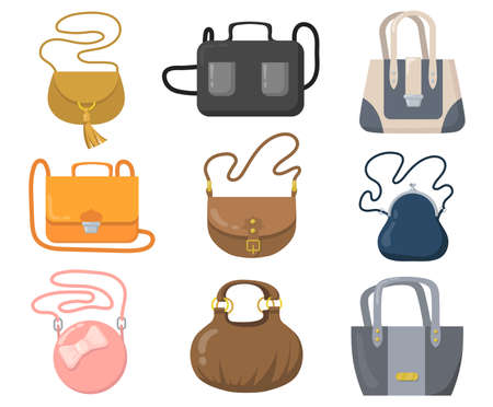 Luxury handbags set. Stylish bags, clutches and purses with handles and shoulder straps. Cartoon vector illustrations for fashion, accessory shop concepts
