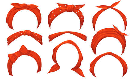Girlish hairbands set. Red bandana with bow, tied handkerchief, headbands. Isolated vector illustrations for ladies accessories, hairstyle, retro fashion concept