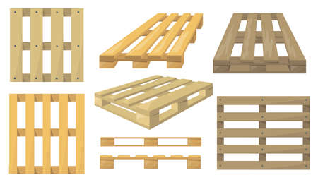 Wooden pallets set. Top and side view, cartoon objects, Flat vector illustrations for transportation, logistics, cargo, delivery, warehouse concept Ilustración de vector