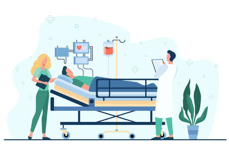 Doctor and nurse giving medical care to patient in bed isolated flat vector illustration. Cartoon medicine specialists giving support for man. Intensive therapy and healthcare concept 免版税图像 - 157558412
