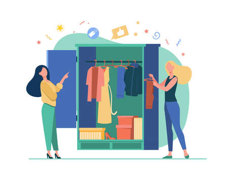 Woman selecting the clothes for female friend. Wardrobe, choosing. Flat vector illustration. Stylistic concept can be used for presentations, banner, website design, landing web page