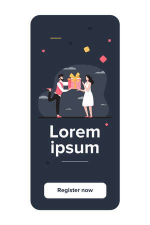 Bearded man giving gift to surprised woman. Present, boyfriend, couple flat vector illustration. Event and love concept for banner, website design or landing web page
