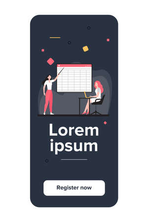 College girl giving report to teacher. Trainer explaining task to adult student flat vector illustration. Education, online distant learning concept for banner, website design or landing web page 免版税图像 - 157559108