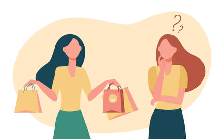 Store consultant offering paper bags to buyer. Shop, purchase. Flat vector illustration. Marketing concept can be used for presentations, banner, website design, landing web page 矢量图像