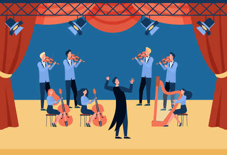 Conductor and musicians standing on theater stage flat vector illustration. Cartoon people playing violin, cello and harp. Symphony orchestra and classical music concert concept