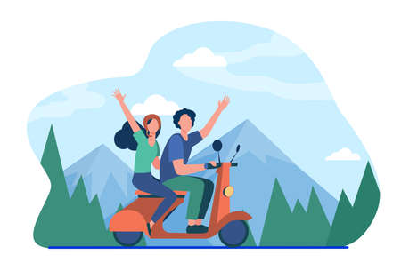 Man and woman riding moped in mountains. Forest, nature. Flat vector illustration. Traveling concept can be used for presentations, banner, website design, landing web page