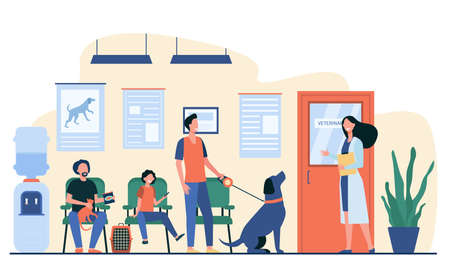 Queue of people with pets at vet room. Veterinary inviting man with cute dog in her office. Vector illustration for animal care, veterinarian clinic or hospital concept Ilustração
