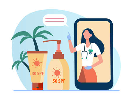 Online doctor recommending sunscreen. Phone screen, bottle of sunblock, tube of lotion flat vector illustration. Skin protection, summer concept for banner, website design or landing web page