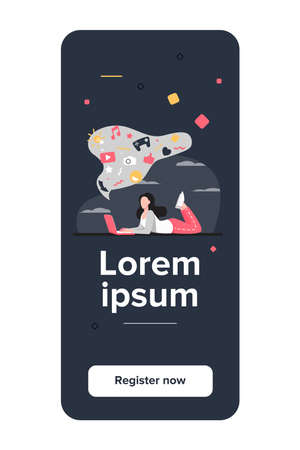 Girl suffering from internet addiction. Woman using laptop, bubble with social media signs messy flat vector illustration. Online communication concept for banner, website design or landing web page
