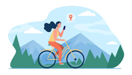 Woman riding bike by mountains. Girl cycling and consulting location app on cell flat vector illustration. Activity, path searching concept for banner, website design or landing web page Vettoriali