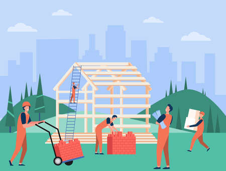 Professional carpenters team building house flat vector illustration. Cartoon builders in protective hard hats and uniform working with wooden structure. Construction and teamwork concept