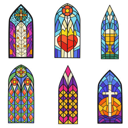 Gothic colorful stained glass windows flat item set. Cartoon fantasy drawn pointed arch for paper book isolated on white background vector illustration collection. Old style and art concept
