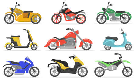 Various motorbikes flat item set. Cartoon motorcycles, moto cycles, scooters and bikes isolated vector illustration collection. Transportation and delivery concept