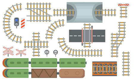 Railroad and railway tracks flat elements set. Top view of rail station and train lines isolated vector illustration collection. View from above. Construction and industrial map concept