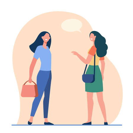 Happy friendly women talking outside. Female friends accidental meeting flat vector illustration. Communication, public place concept for banner, website design or landing web page
