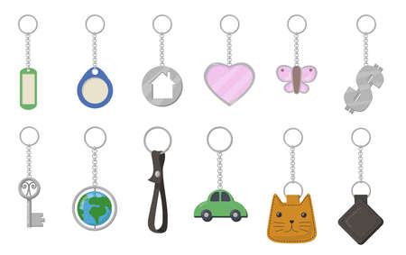 Keychains and keyrings set. Heart, butterfly, cat, car, earth shaped key fobs isolated on white background. Vector illustration for trinket, souvenir, opening door, property rent concept Ilustração
