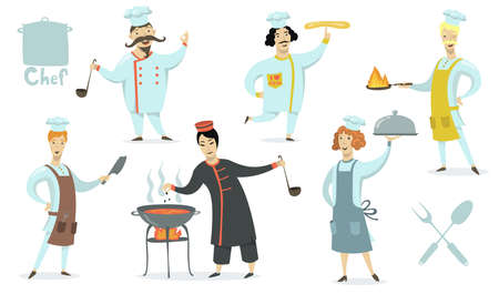 Chefs wearing aprons and cookers hat set. Professionals cooking restaurant meals. Vector illustration for food, culinary, kitchen, job, traditional cuisine concept 向量圖像