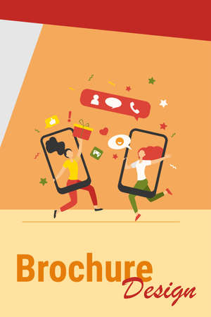 Customers sharing references and earning money. Mobile phones users chatting, exchanging gifts. Vector illustration for refer a friend, referrals, loyalty program, marketing concept 向量圖像