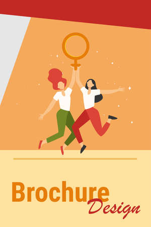 Two girls holding female symbol. Women with venus sign celebrating woman day flat vector illustration. Girl power, empowerment, feminism concept for banner, website design or landing web page