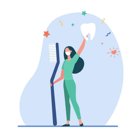Tiny dentist holding giant toothbrush and tooth. Cleaning, caries, health flat vector illustration. Stomatology and dentistry concept for banner, website design or landing web page