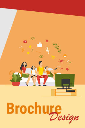 Cartoon happy family watching television together isolated flat vector illustration. Mother, father and kids relaxing on couch at home. Technology, lifestyle and entertainment concept