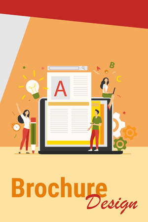 Content author or writer job concept. Freelance blogger at laptop writing creative article, editing text. Vector illustration for blogging, seo marketing, online education topics