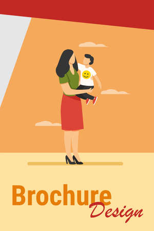 Young mom holding toddler child in arms. Mother and son standing outdoors, hugging flat vector illustration. Motherhood, child care, family concept for banner, website design or landing web page