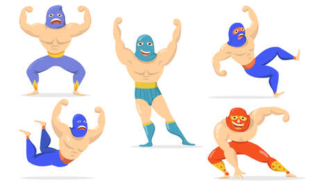 Mexican fighters in masks flat item set. Cartoon wrestlers standing, showing muscles, falling, smiling isolated vector illustration collection. Lucha libre and martial arts concept