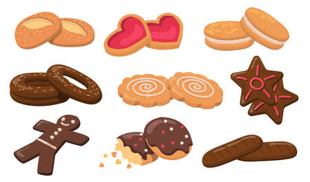 Colorful biscuits and cookies flat elements set. Cartoon fresh round sweet tasty cookies for dessert isolated vector illustration collection. Pastry and confectionery concept