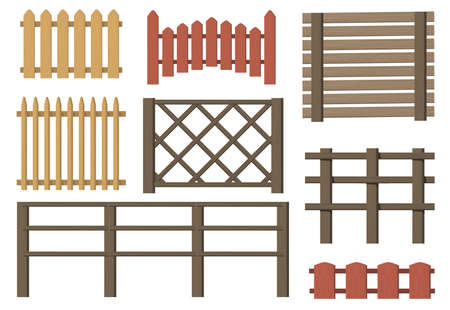 Rural wooden fences flat item set. Cartoon farm or village vintage brown gates isolated vector illustration collection. Timbers barriers and countryside concept