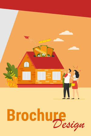 Happy couple investing money in property flat vector illustration. Cartoon characters taking bank credit and buying house. Mortgage loan and ownership concept 向量圖像