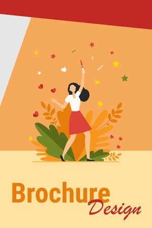 Happy woman learning about her pregnancy. Girl holding positive pregnancy test flat vector illustration. Motherhood, planning, prenatal care concept for banner, website design or landing web page 矢量图像