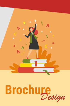 Student celebrating graduation. Girl in gown and cap with diploma dancing on books flat vector illustration. Graduate, education, college concept for banner, website design or landing web page