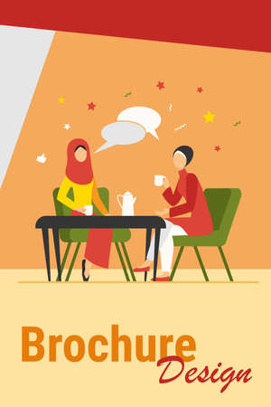 Muslim women meeting in Arabic coffee shop. Female friends wearing hijab drinking coffee flat vector illustration. Friendship, communication concept for banner, website design or landing web page Ilustração