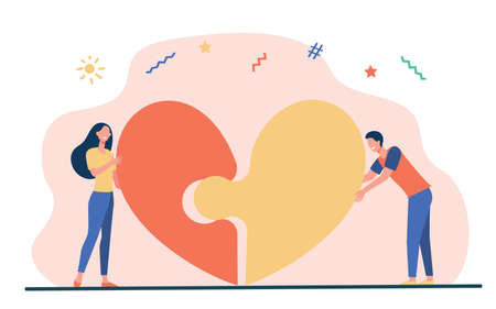 Happy young couple connecting heart halves. Puzzle, jigsaw, dating flat vector illustration. Love, relationship, romance concept for banner, website design or landing web page