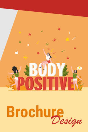 Happy plus size women enjoying life isolated flat vector illustration. Cartoon female characters of different figure type and active healthy lifestyle. Body positive and beauty diversity concept Иллюстрация
