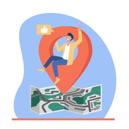 Map location pointer. Man sharing his locate on social media flat vector illustration. Communication, application concept for banner, website design or landing web page Иллюстрация