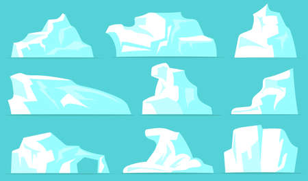 Various icebergs set. White icy mountains with crystal snow isolated on pale blue background. Vector illustrations collection for arctic landscape, north pole, Antarctic nature concept