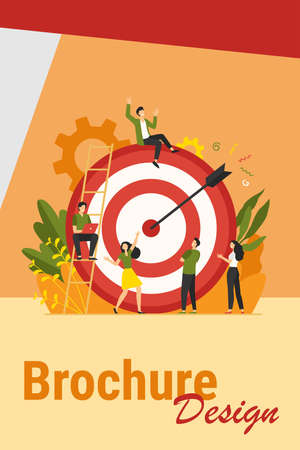 Positive tiny people sitting and walking near huge target with arrow isolated flat vector illustration. Cartoon business team achieving goal or aim. Marketing strategy and achievement concept Иллюстрация