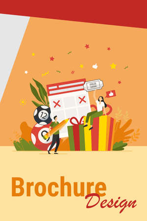 Prize draw concept. People winning lottery, getting gift box, drawing crosses on tickets, celebrating win. Vector illustration for lucky people, lottery winners, random draw topics Иллюстрация