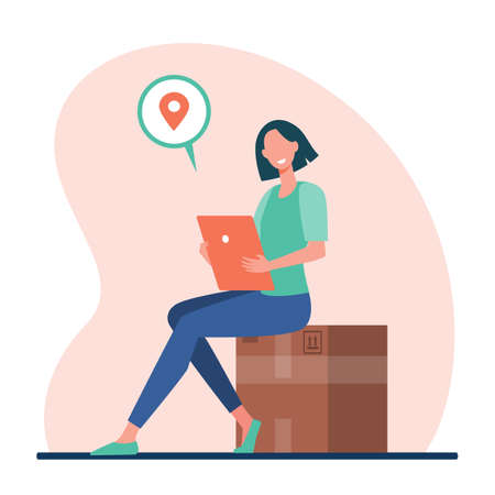 Woman with tablet mailing package. Sender inserting address online, sending big box flat vector illustration. Shipping, logistics, delivery concept for banner, website design or landing web page