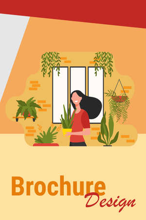 Happy woman growing houseplants. Female character standing in cozy home garden and holding pot with plant. Vector illustration for greenery, gardening hobby, home decor, botany concepts Иллюстрация