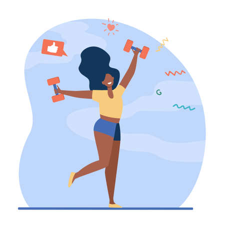 Happy dark skinned girl doing exercises. Woman dancing with dumbbells flat vector illustration. Fitness, gym, weight lifting concept for banner, website design or landing web page