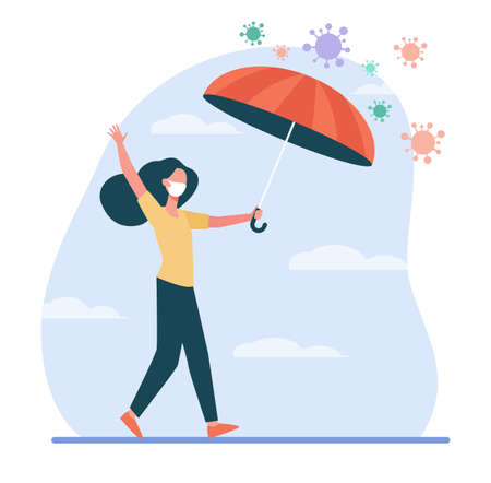 Woman in face masks protecting from virus. Coronavirus, umbrella, walking outdoors flat vector illustration. Virus, pandemic, protection concept for banner, website design or landing web page