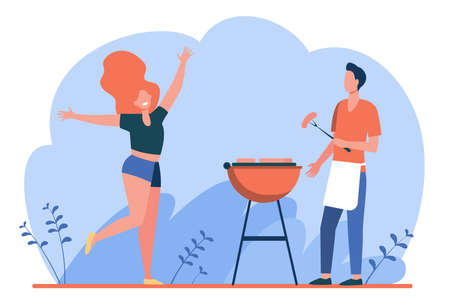 Happy couple enjoying barbecue party. Guy cooking grilled meat, girl dancing by him flat vector illustration. BBQ, picnic, summer concept for banner, website design or landing web page
