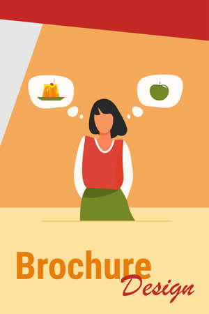 Healthy and unhealthy food choice. Woman choosing between cake and fresh apple flat vector illustration. Lifestyle, eating, diet concept for banner, website design or landing web page