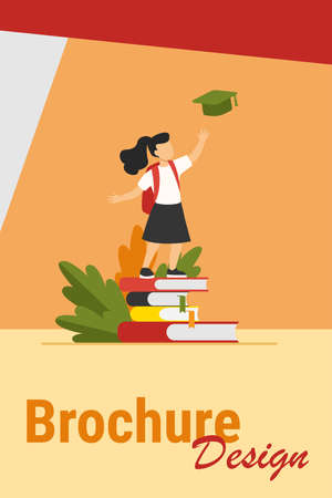 Little girl standing on pile of books. Study, school, pupil flat vector illustration. Education and knowledge concept for banner, website design or landing web page