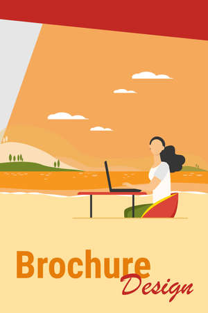 Freelance woman working by sea. Girl using laptop at table outdoors flat vector illustration. Outdoor workplace, freelancer concept for banner, website design or landing web page